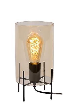 Lucide Steffie - Lámpara de mesa, vidrio tejido metal, ámbar ...