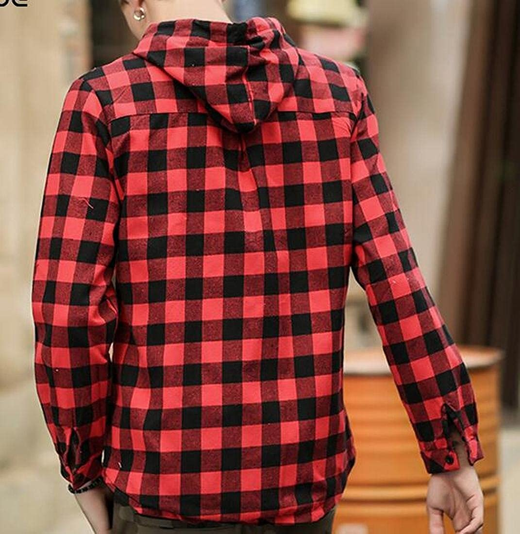 Generic Mens Casual Plaid Long Sleeve Button Down Shirt Hooded Shirts