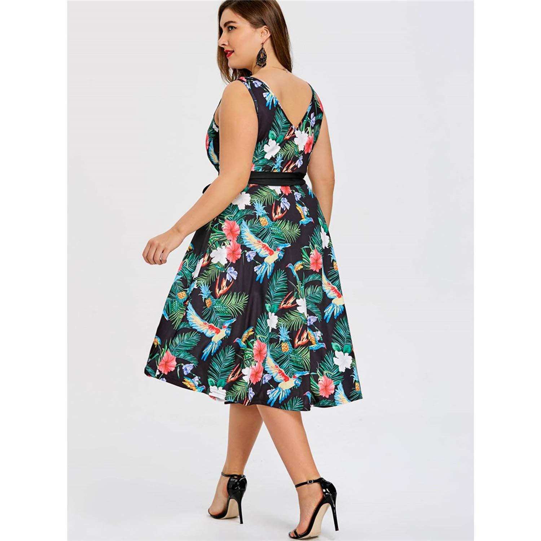 Clearance Plus Size Hawaiian Leaf Midi Boho Dress Women Sleeveless V Neck Belted Elegant Party Vintage Dresses Robe Vestido 5XL