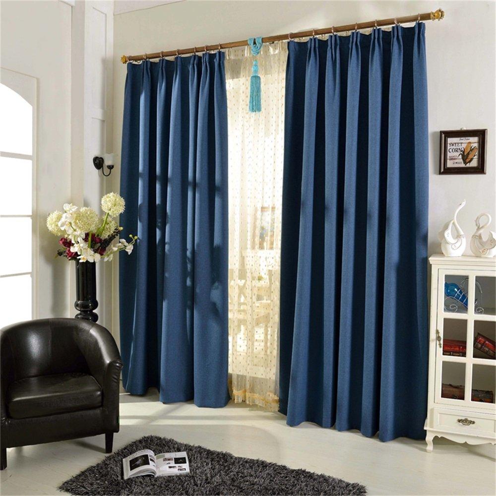 HOME UK- Ein Satz von 2 PC-feste Farbe Einfacher moderner Flachs-voller Schattierung-Tuch-Vorhang Fertiges Produkt-Wohnzimmer-Schlafzimmer verdickt ( größe : 4*2.7m (width*height) )