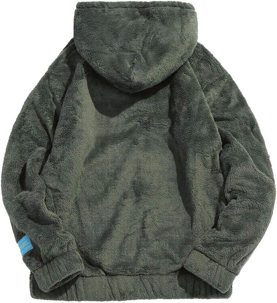 ZAFUL Mens Fluffy Hooded Sweatshirt Long Sleeve Tops with Drawstring Large Pocket