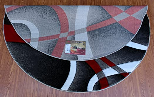 Masada Rugs, Sophia Collection Hand Carved Area Rug Modern Contemporary Red White Grey Black 8 Feet X 8 Feet Round