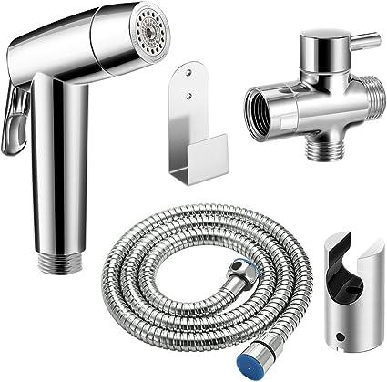 Kit spruzzatore WC per bidet manuale-Set di spruzzatori per bidet in acciaio inossidabile 304 con gabinetto 304 Bidet per valvola a tre vie 1,5 metri-B