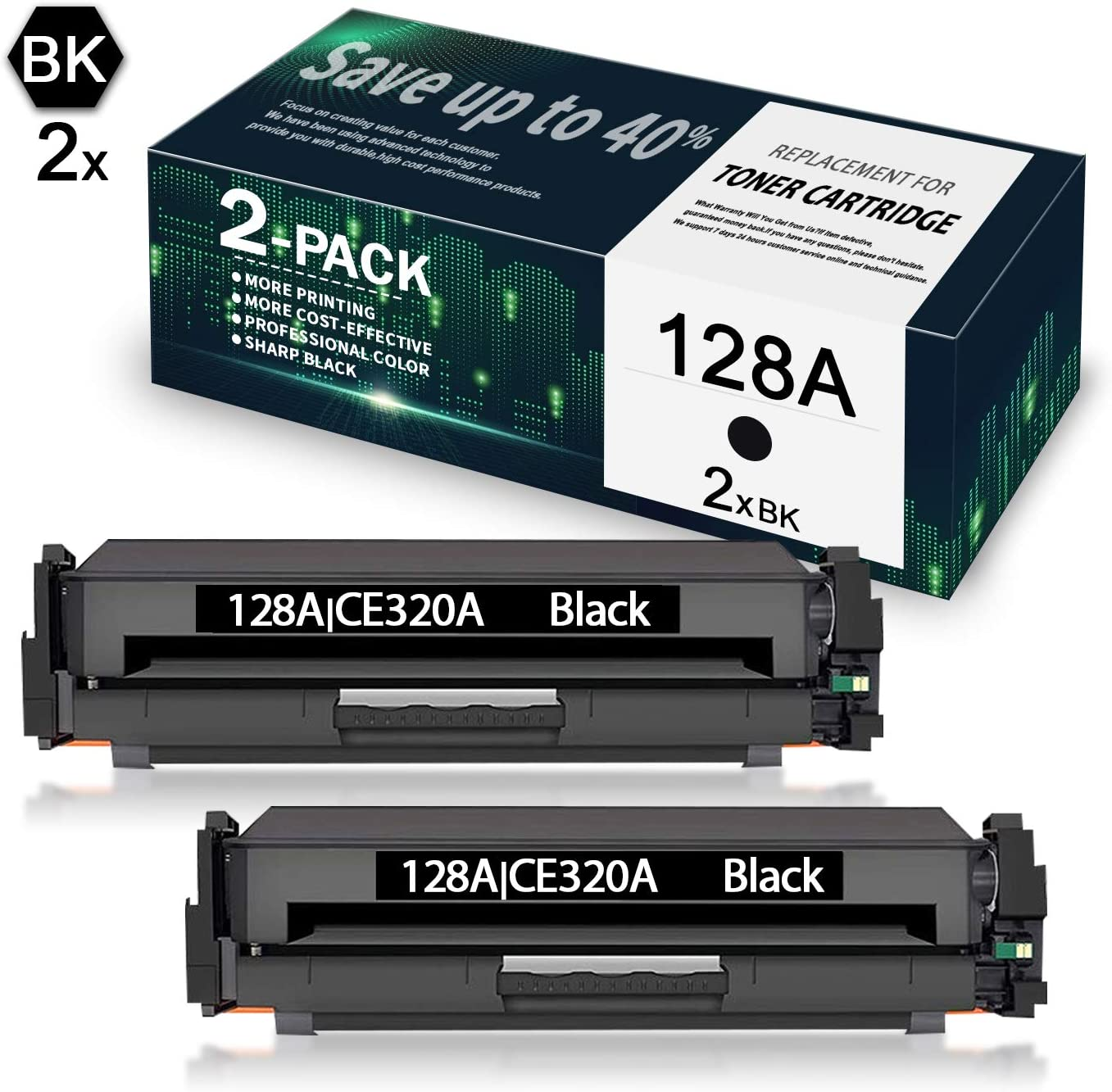 2-Pack Black CE320A Compatible Remanufactured Toner Cartridge Replacement for HP Laserjet Pro CP1525n CP1525nw MFP CM1415fn CM1415fnw Printer,Sold by SinaToner. 128A