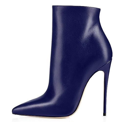 ELASHE Botines para Mujer   4.8 Inch Zapatos de tacón   Botines de tacón Alto Botas con Cremallera: Amazon.es: Zapatos y complementos