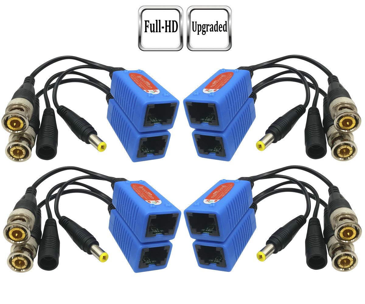 Igreeman 4 Pair Passive Video Balun BNC to RJ45 Adapter with Power (Upgraded Solution) Full HD 1080P-5MP Surveillance Security Camera Ethernet Cable Transceiver Cat5e/Cat6 Cable to BNC Male Connector by Igreeman