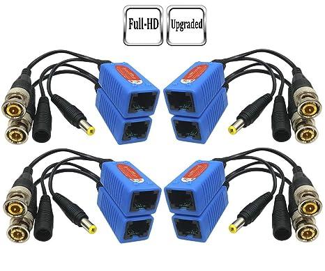 igreeman 4 pair passive video balun bnc to rj45 adapter with power  (upgraded solution)