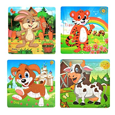 Wooden Jigsaw Puzzles Set for Kids Age 3-5 Year Old 20 Piece Animals Colorful Wooden Puzzles for Toddler Children Learning Educational Puzzles Toys for Boys and Girls (4 Puzzles): Clothing