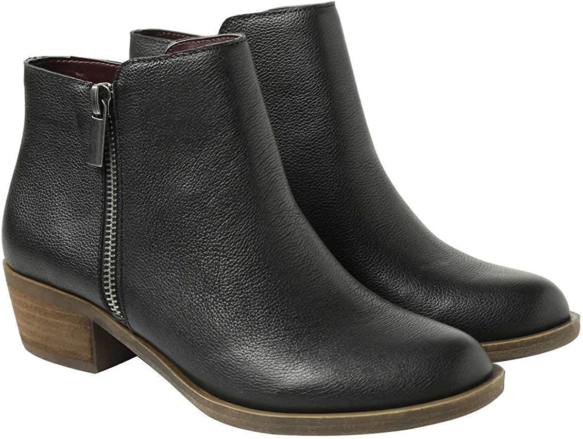 Black Leather Ghita Short Ankle Boots