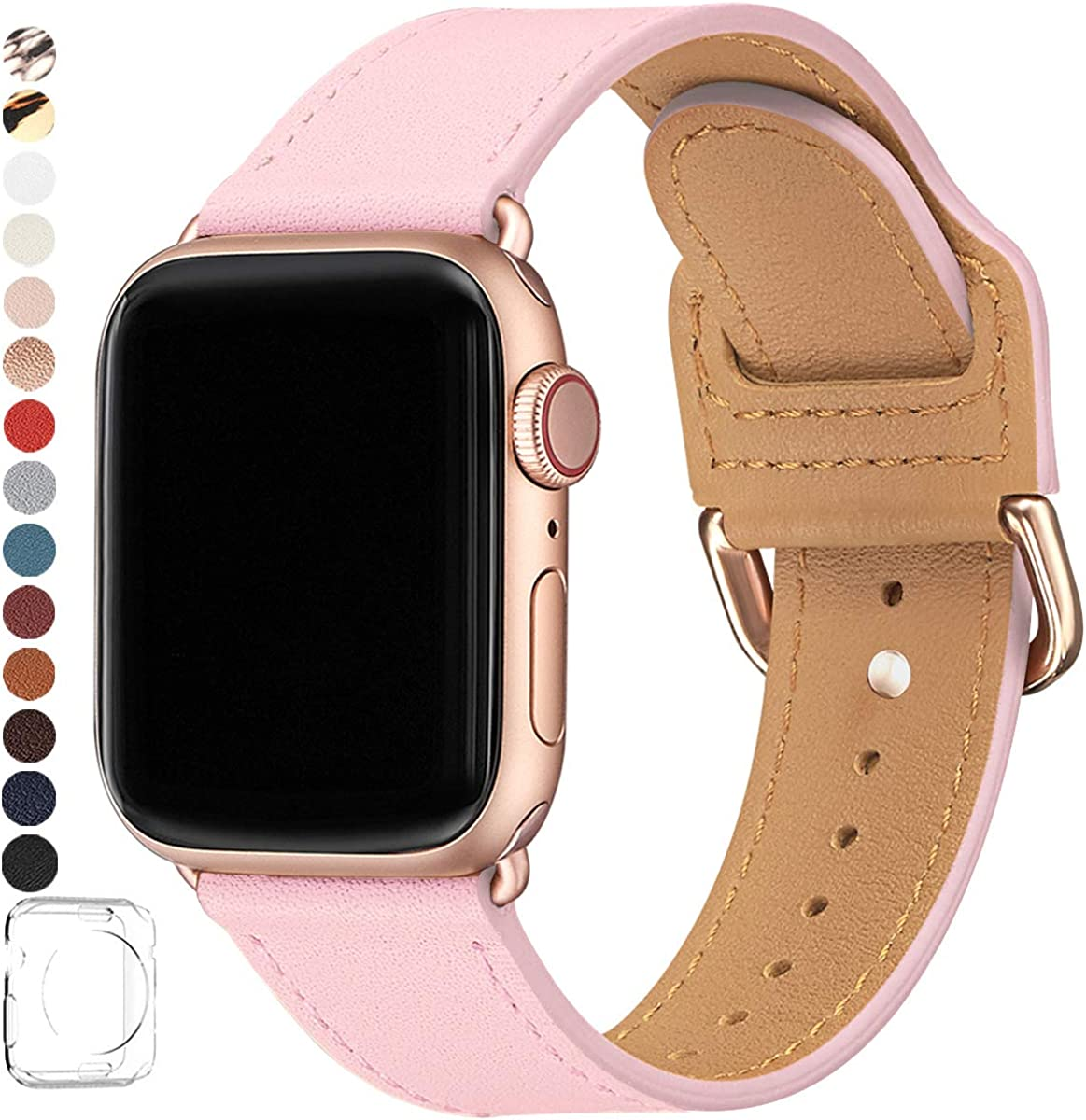 POWER PRIMACY Bands Compatible with Apple Watch Band 38mm 40mm 42mm 44mm, Top Grain Leather Smart Watch Strap Compatible for Men Women iWatch Series 5 4 3 2 1(Pink/Rosegold,42mm/44mm)
