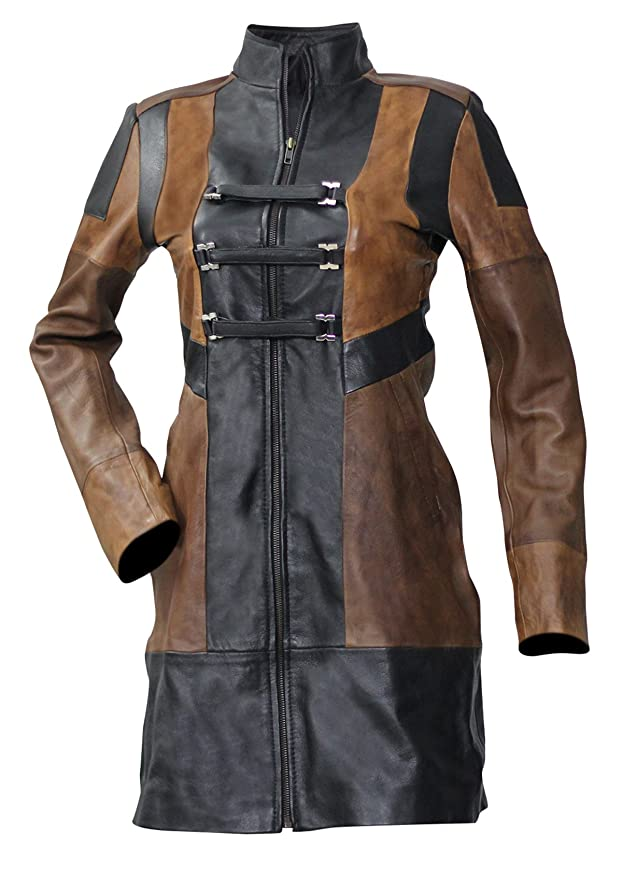 c12a545e8 Spazeup gog 2 Women Brown and Black Trench Leather Coat at Amazon ...