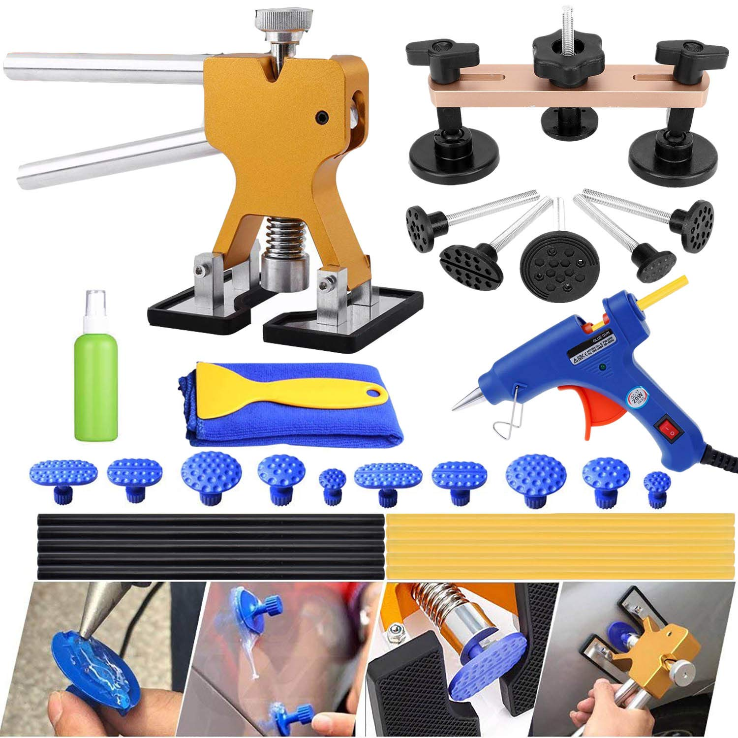 VOLOL SMLIFE Auto Body Paintless Dent Removal Repair Kits Pops a Dent Puller Bridge Remover Tools for Car Hail Damage and Door Dings