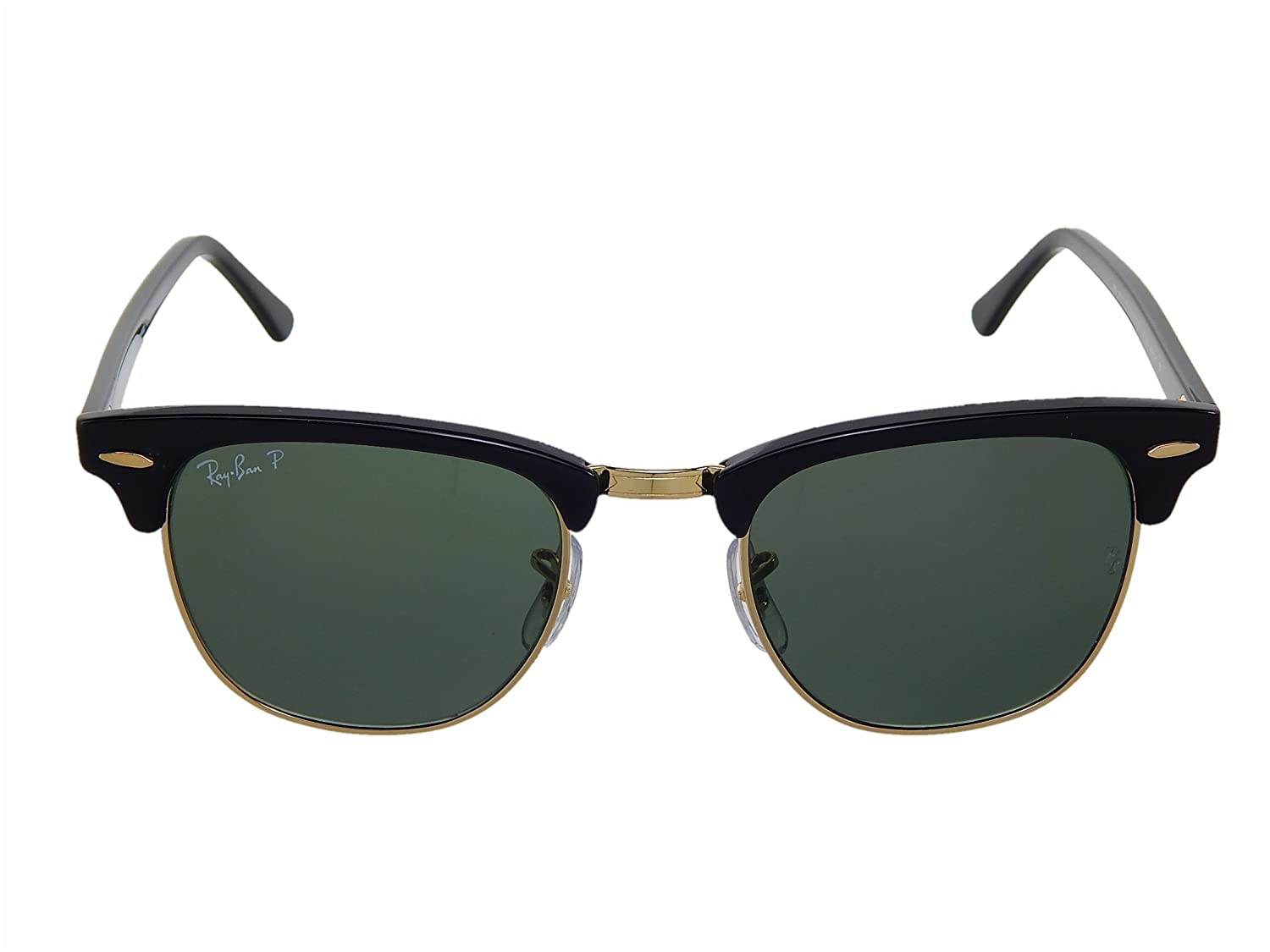 7a302611ca Amazon.com  New Ray Ban Clubmaster RB3016 901 58 Black Crystal Green  Polarized 49mm Sunglasses  Shoes