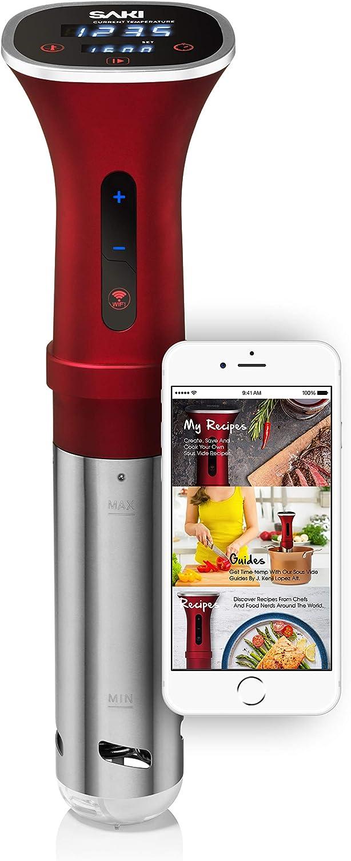SAKI Sous Vide Cooker, Powerful 1100 Watts (WiFi), Immersion Circulator, Digital Display, SAKI App Included (UPDATED APP)