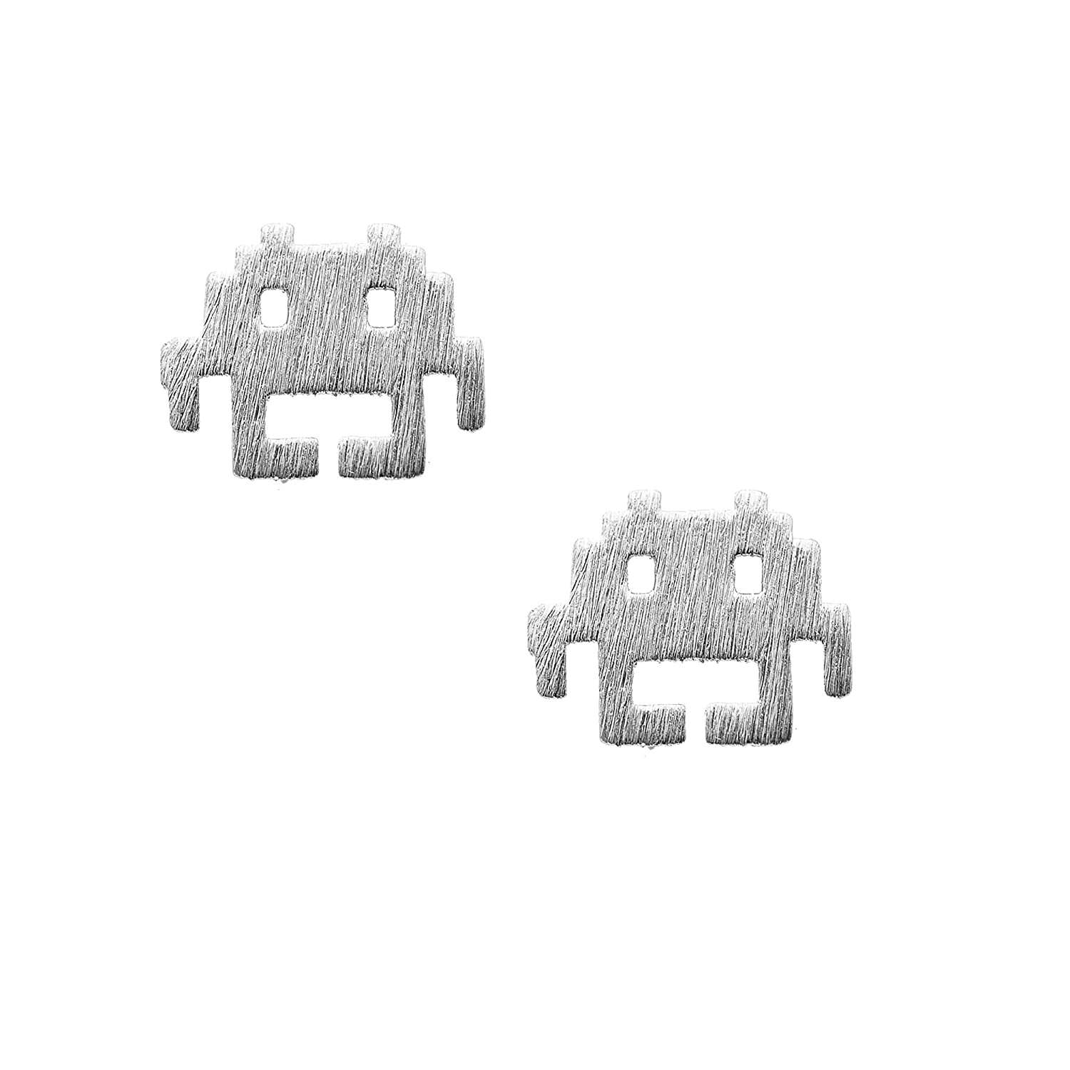 Spinningdaisy Handcrafted Brushed Metal Space Invader Earrings