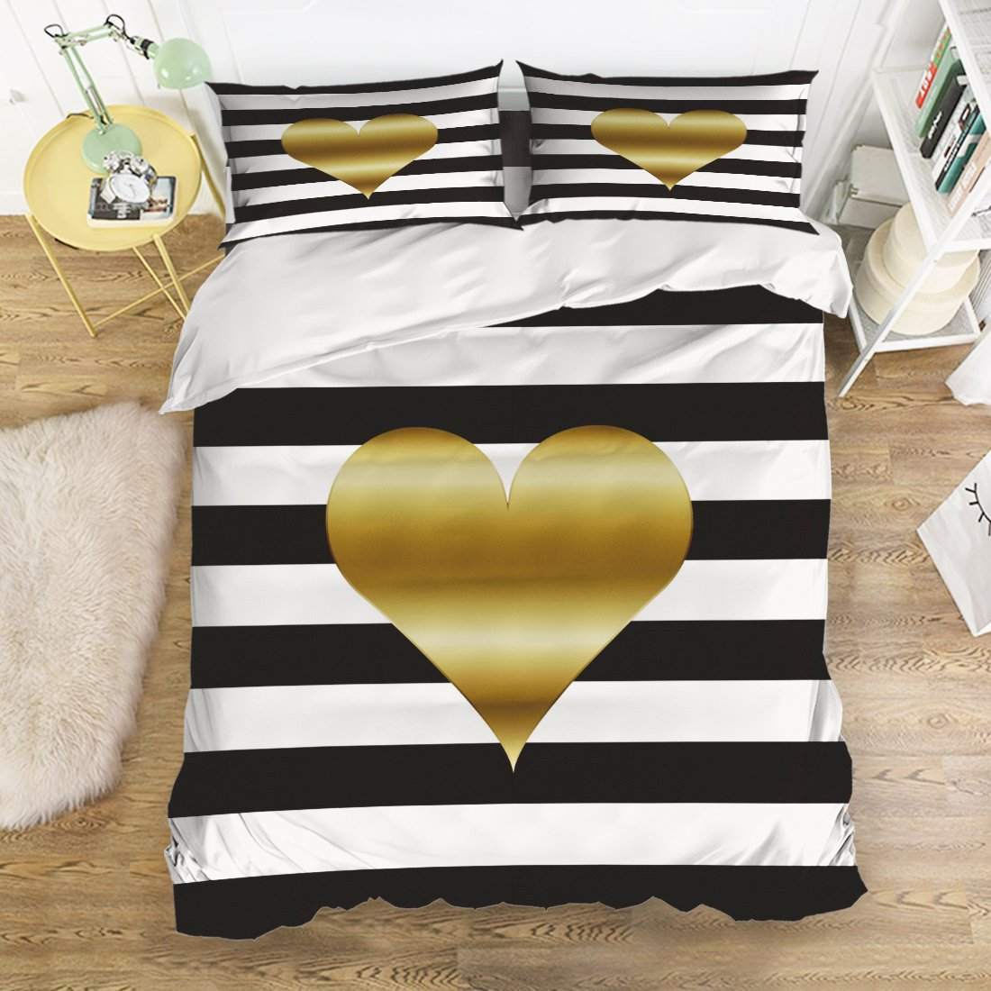 Bedding 4 Piece bed Set Comfortable Soft Brushed Cotton,3D Magic Mysterious Gold Heart Black And White Stripe Pattern 4 Piece Bed Sheet Set Duvet Cover Flat Sheet and 2 Pillow Cases