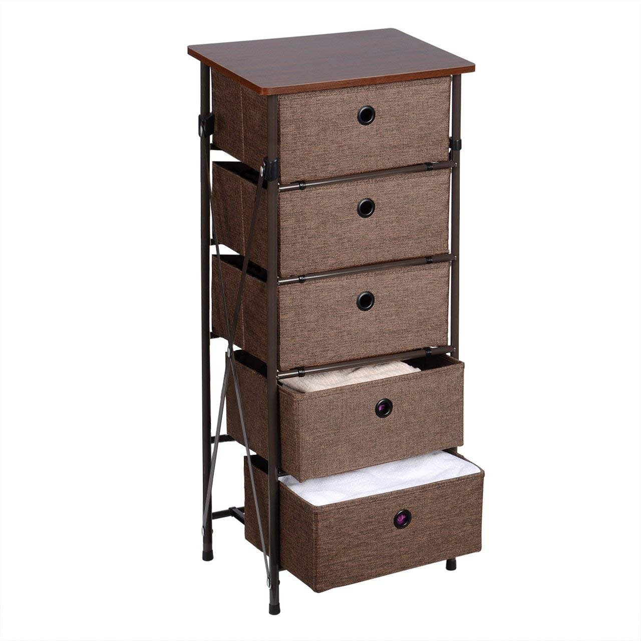 SortWise™ Brown Wooden Top Night Stand Framed by Iron Shelf with 4 Removeable Storage Drawers