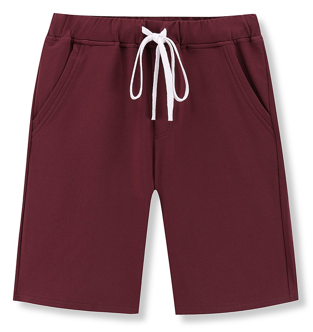 Janmid Men's Casual Classic Fit Cotton Elastic Jogger Gym Shorts Wine red M