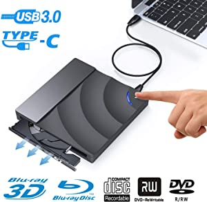 BDYING External 3D Blu Ray DVD Drive,Ultra-Thin USB 3.0 and USB-C Blu Ray Player CD DVD Burner Writer Smart Touch Eject Disc for MacBook iMac Laptop Desktop Windows XP/7/8/10 Mac OS(Black)