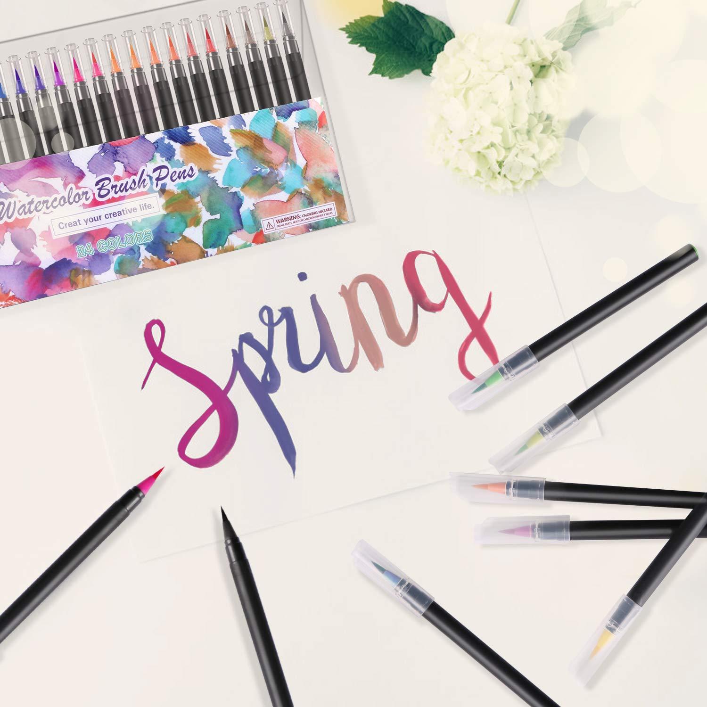 1 stylo brosse /à eau 1 tampon pour aquarelle RATEL Set de stylos pinceaux Comprendre 24 Stylos pinceaux aquarelle avec embout en nylon flexible