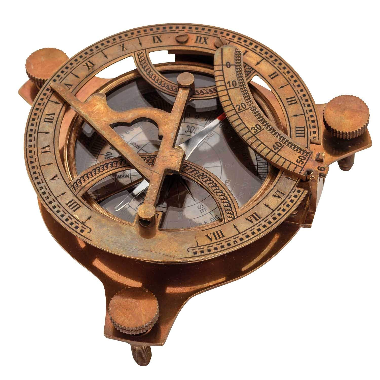 Antik-Nachbildung Nautical Replica Hub Sonnenuhr Taschenuhr West London mit Holzbox massives Messing