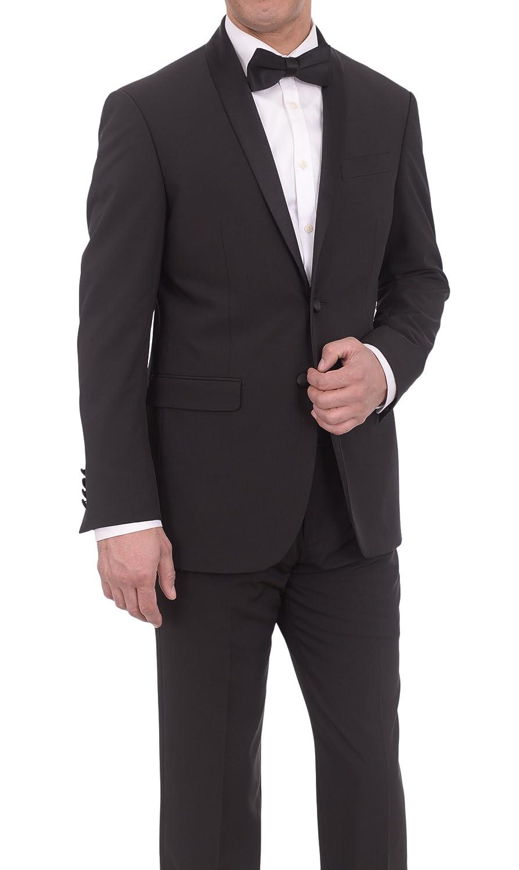 Eleganza Platinum Slim Fit Black Tonal Striped Two Button ...