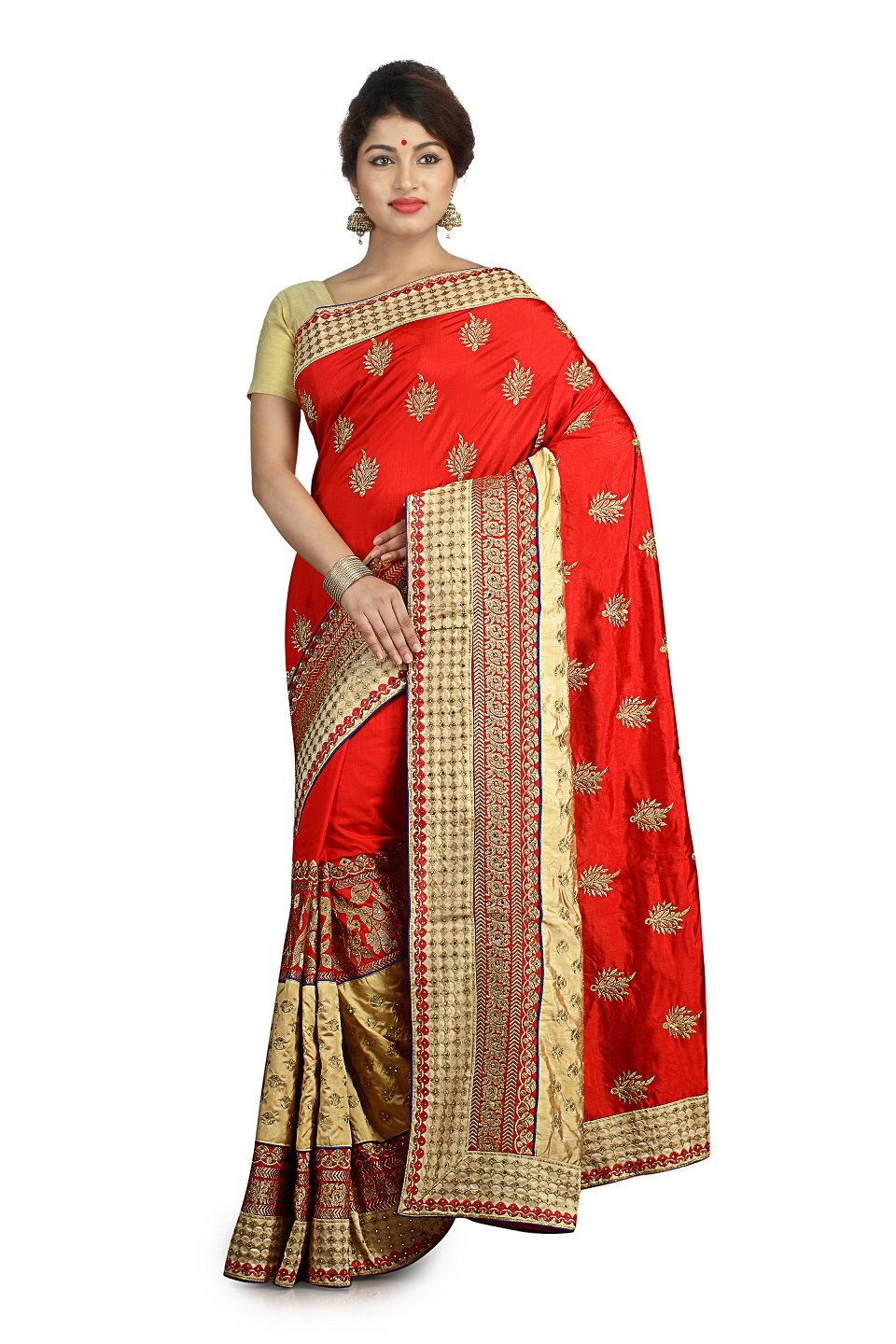 Indian Ethnic Raw Silk Red Fancy Saree