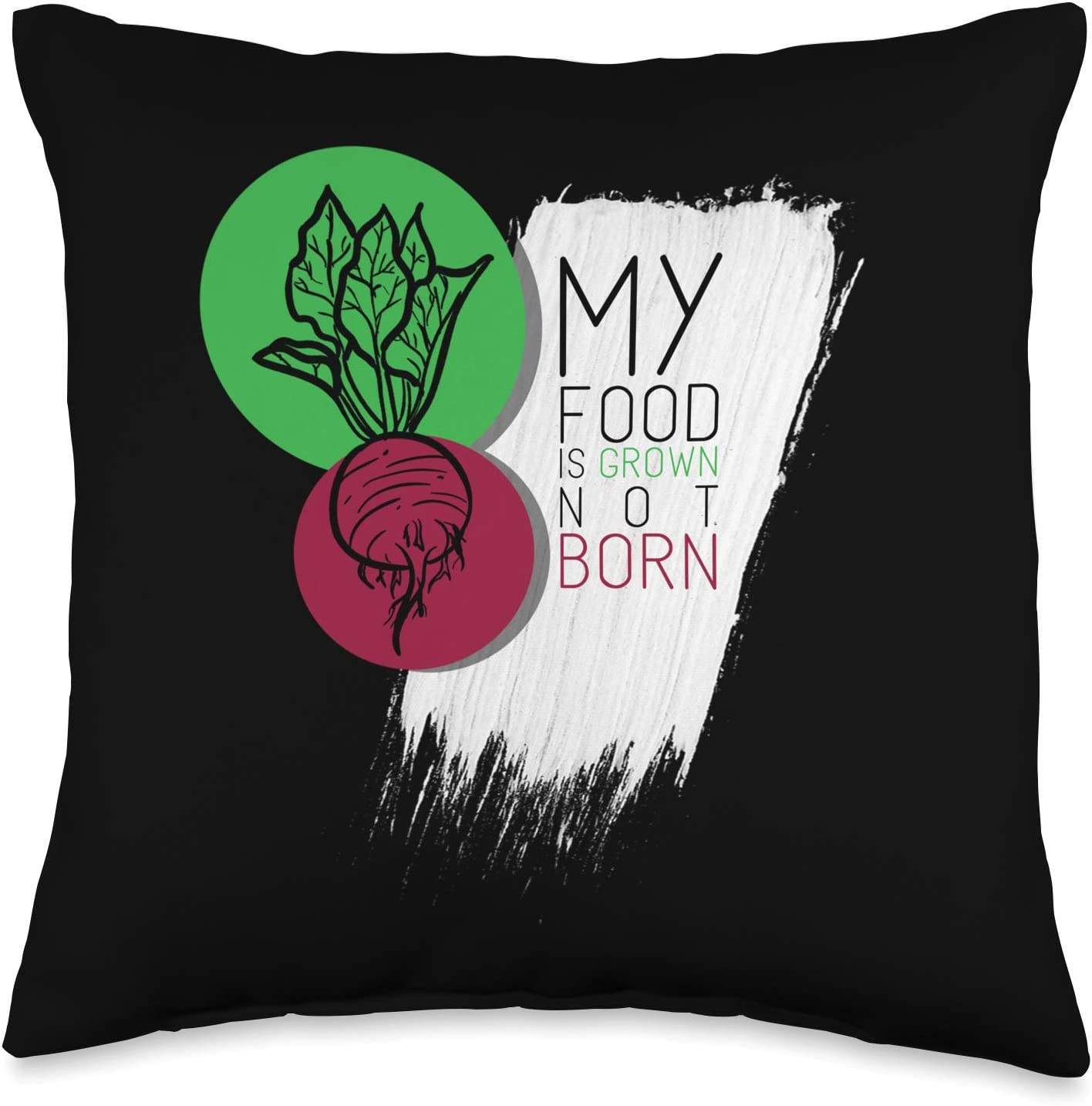 UAB KIDKIS My Food Is Grown Not Born Vegan Animal Lover Gift Throw Pillow, 16x16, Multicolor