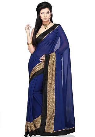 60bf2169bd6f0b Amazon.com: Utsav Fashion Dark Blue Faux Georgette Saree With Blouse:  Clothing