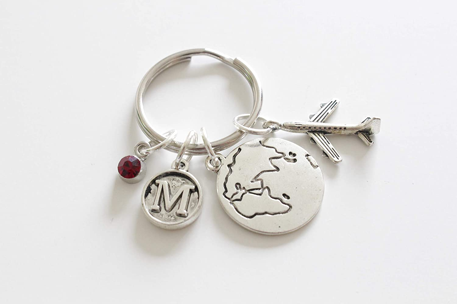 Keychain Personalised Initial and Birthstone Travel Keyring