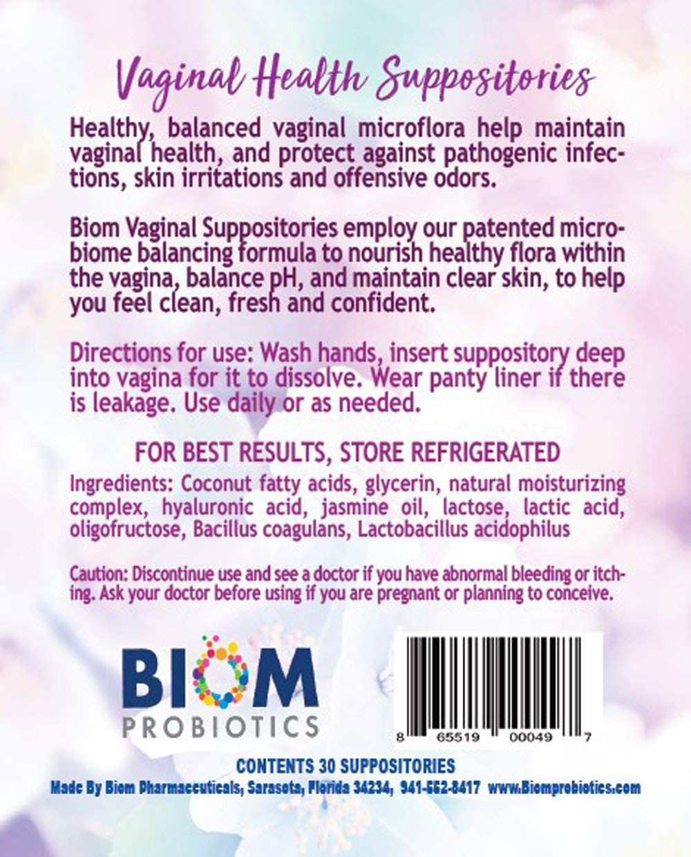 Amazon.com: Biom Vaginal Probiotic Suppository (30): Health & Personal Care