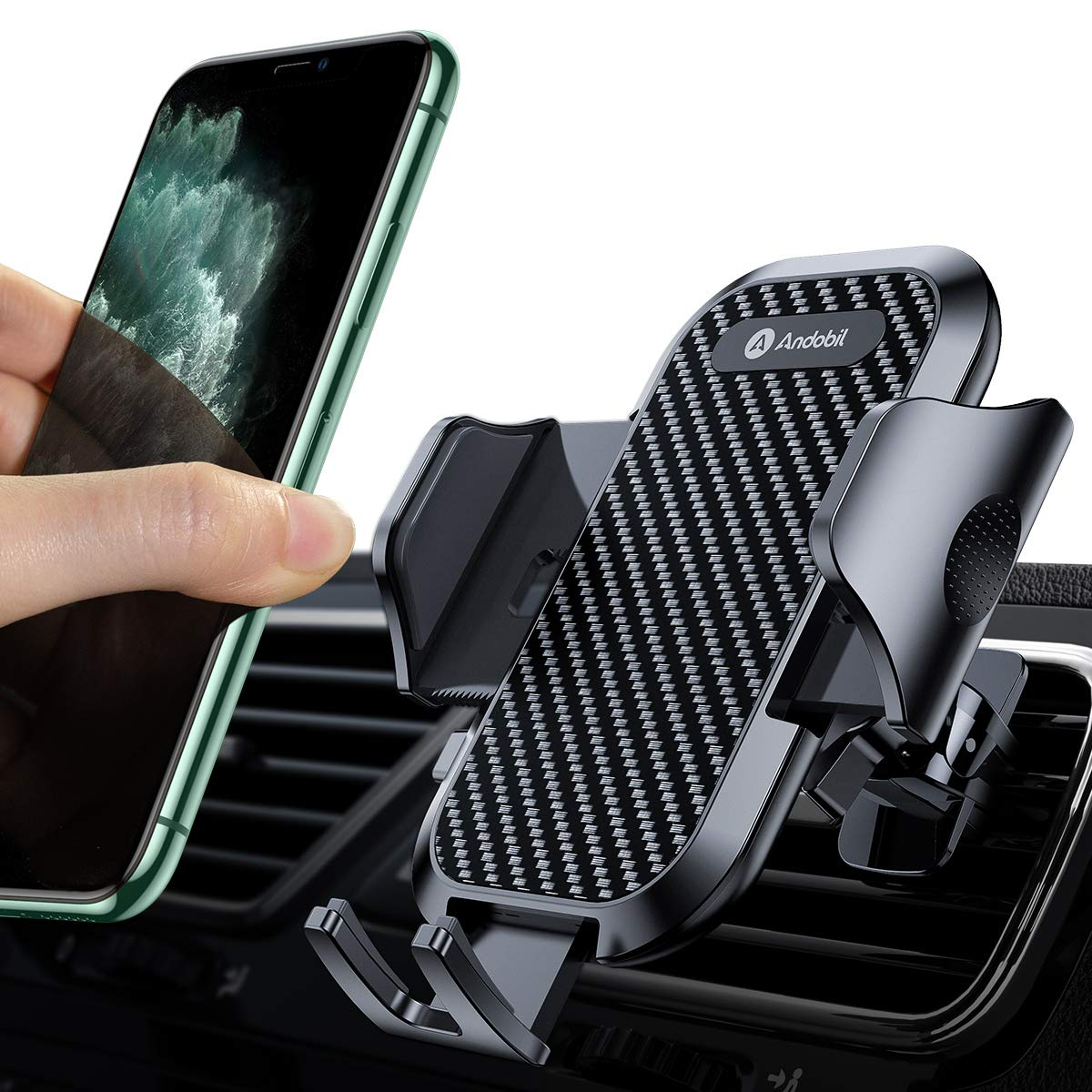 Andobil Auto Phone Mount Ultimate Smartphone Auto Luft Vent Holder Easy Clamp Cradle Hands-Free Compatible für Iphone 11/11 Pro/ 11 Pro Max/ 8 Plus/8/X/Xr/Xs Samsung S10/S9/S8/Note 10/10+ Black