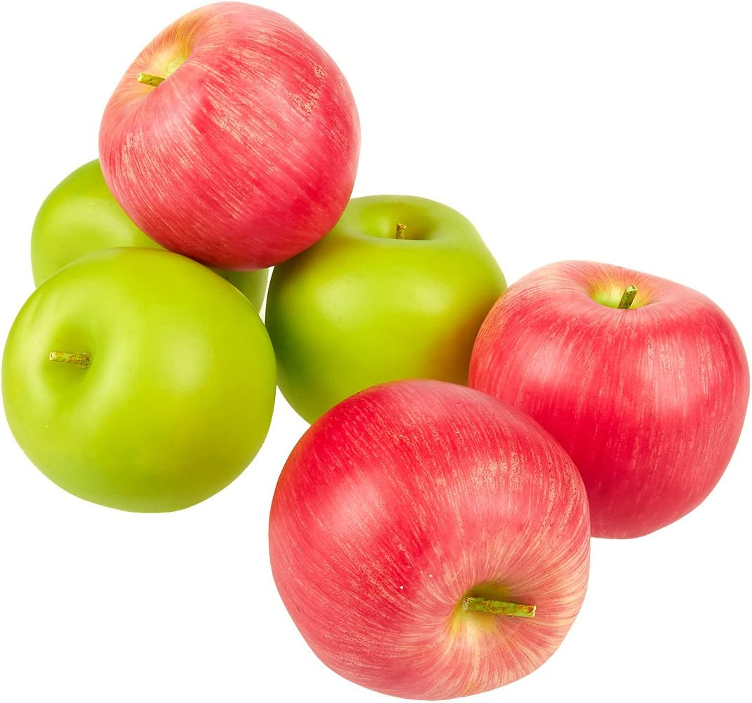 Juvale Fake Fruit – Set of 6 Artificial Apples, Artificial Fruits for Decoration, Lifelike Simulation, Realistic Decor - 2.5 Inches, Red and Green