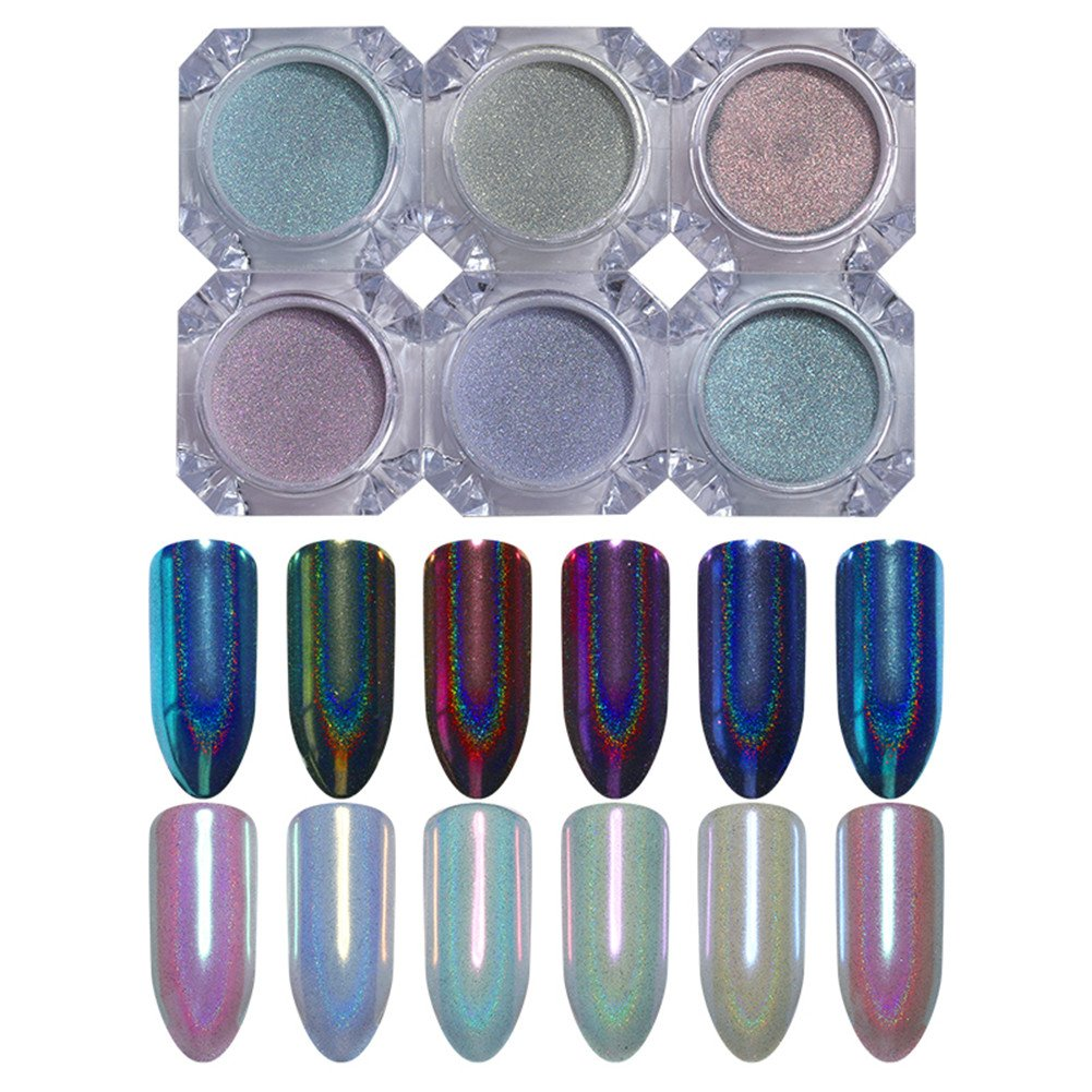 Born Pretty 6 Colors Nail Art Glitter Holographic Chameleon Animal Mermaid Mirror Manicure Powder Iridescent Chrome Pigment Dust Set