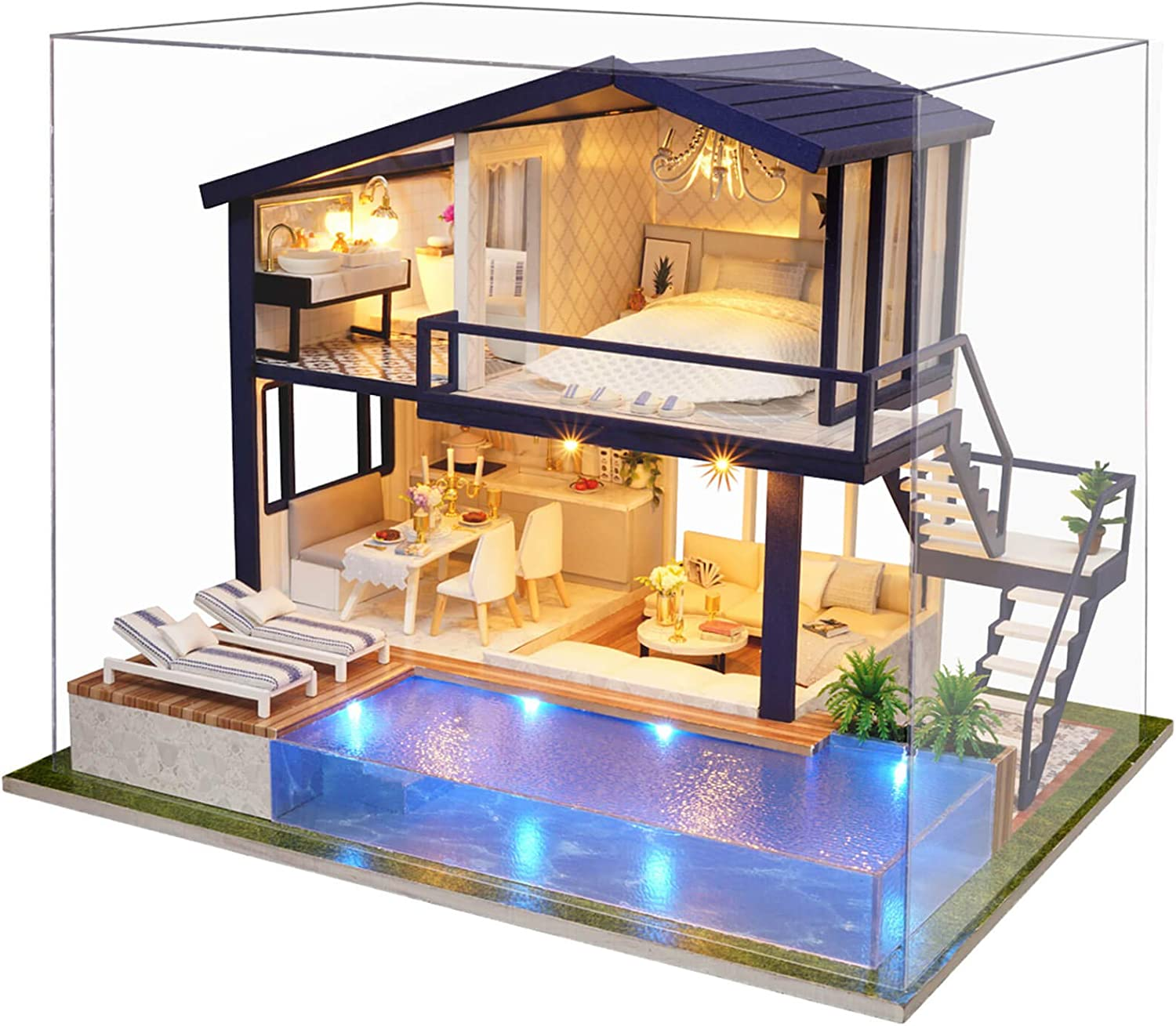 WADILE DIY Dollhouse Kits Wooden Model Handmade Miniature Kit Creative Gift Furniture Realistic and Suitable for Children Over 14 Years Old Or with The Help of Adults