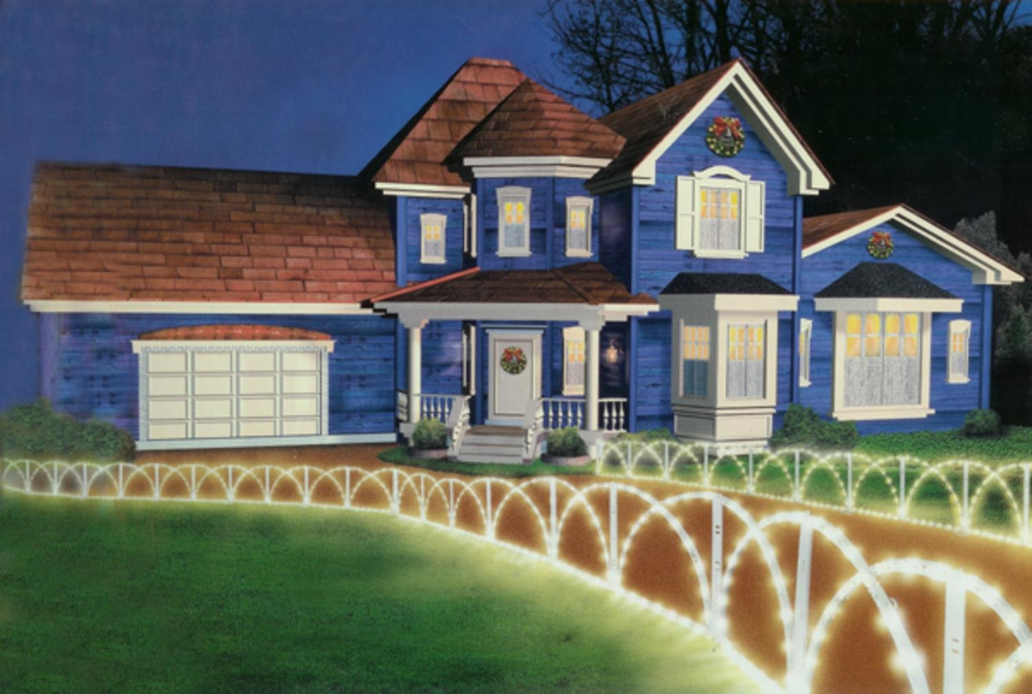 Hofert 7.5' Lighted White Christmas Pathway Fence Lawn Stakes - Clear Lights