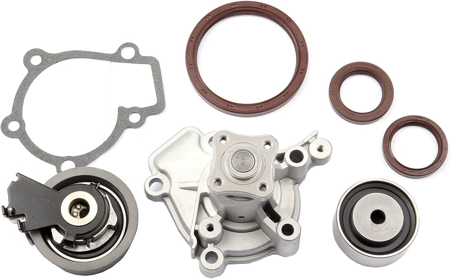 ANPART Timing Belt Kit Fit For 2008-2009 Hyundai Tucson 2010-2011 Kia Soul 2006-2009 Kia Spectra 2006-2009 Kia Spectra5 2006-2010 Kia Sportage Timing Belt Water Pump Tensioner Gasket Set