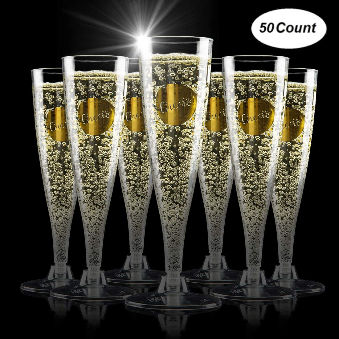 TOYFUL 50 Gold Glitter Plastic Champagne Flutes 5 oz Cheers Disposable Clear Plastic Toasting Glasses Transparent Cocktail Cups Bulk Pack for Wedding and Party (GOLD)