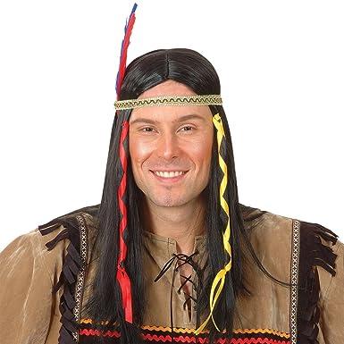 Perruque Indien Homme + Plume Accessoire