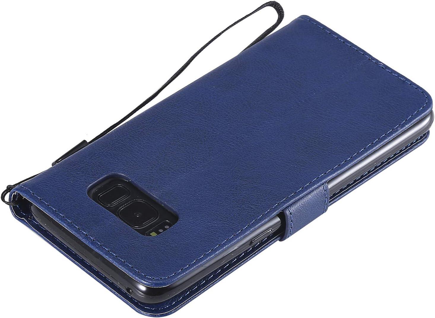 Lomogo Coque Samsung Galaxy S8 Housse en Cuir Portefeuille avec Porte Carte Fermeture par Rabat Aimant/é Anti Choc Etui de Protection pour Samsung Galaxy S8 LOKTU23064 Bleu