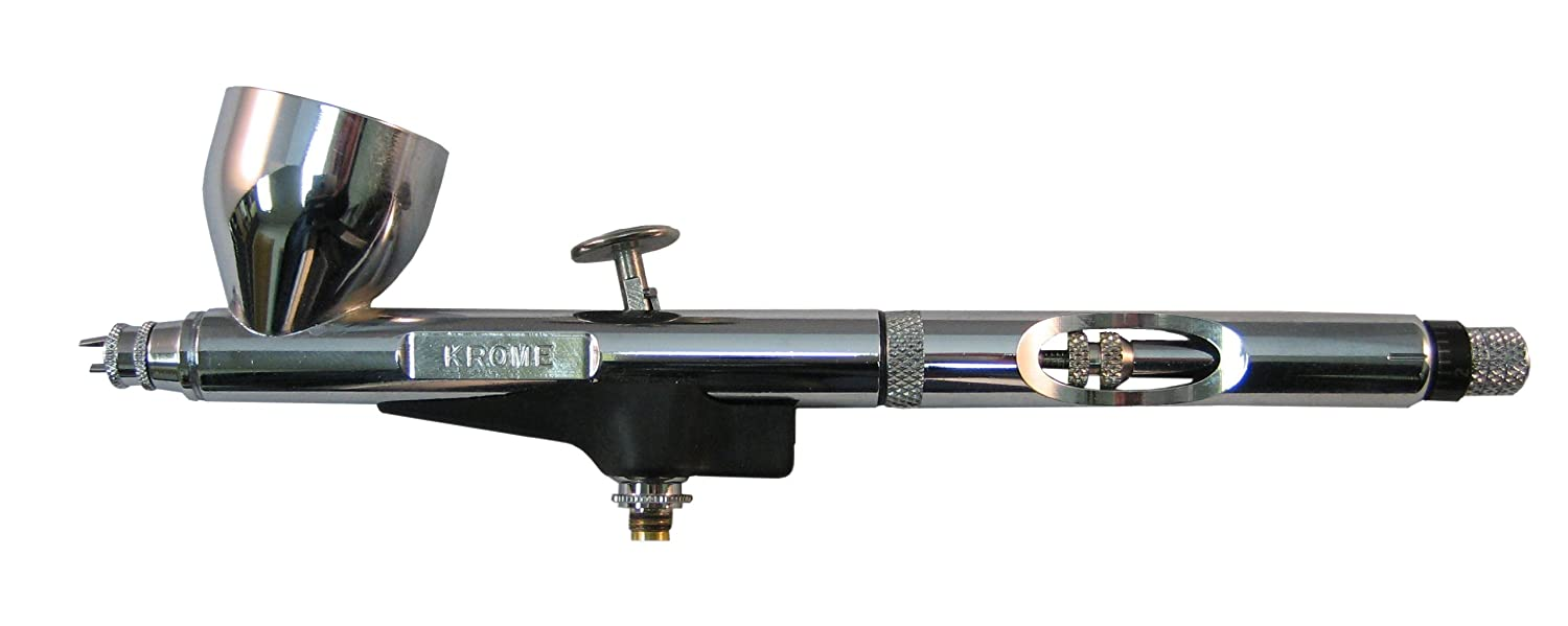 Badger Air-Brush Company RK-1 Krome Airbrush 2-in-1 Ultra Fine Airbrush with Additional Fine Tip, Spray Regulator and Needle Badger Air-Brush Co. BADRK1