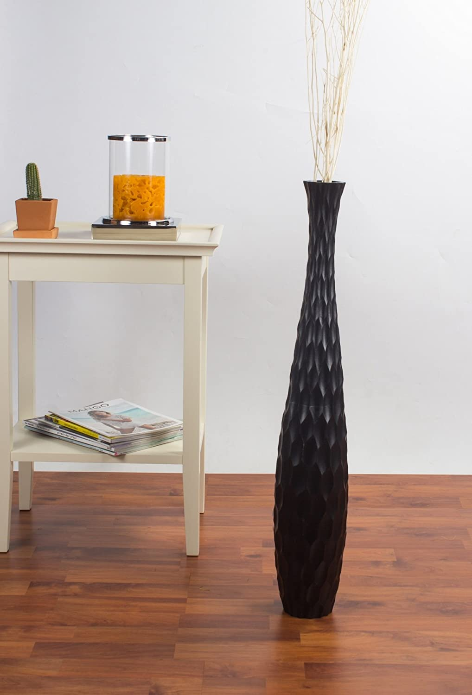 Leewadee Jarr/ón De Suelo Grande para Ramas Secas Decorativas Florero Alto De Piso Decoraci/ón Casa 75 cm Madera de Mango Negro