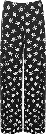 Skull and Crossbones Palazzo Pants. Sizes 12 to 26