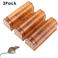 HUX EYE Humane Live Mouse Traps Catch Mice No Kill, Safe Reusable Small Mice Trap Device, 3 Packs