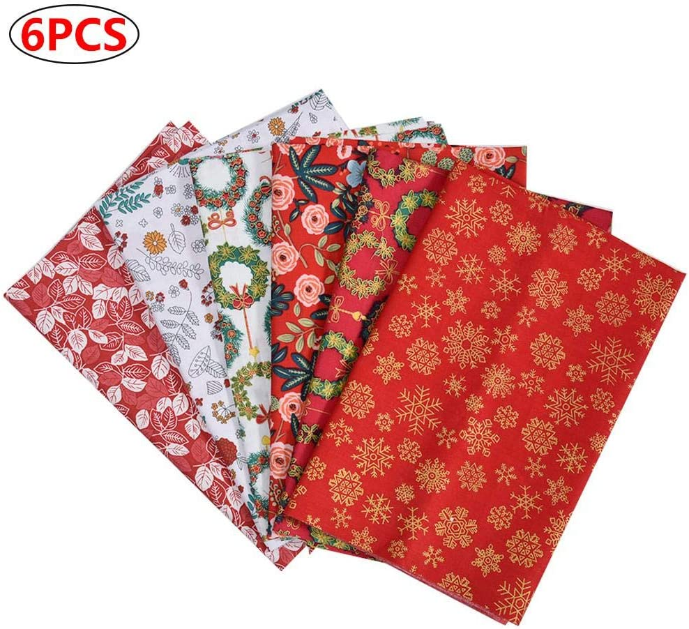 Art Craft Fabric Sheets with Flower Pattern Material for Scrapbooking Quilting Sewing DIY Cotton Fabric Patchwork Squares Patchwork Material Fabric 7PCS Christmas Red Fabric