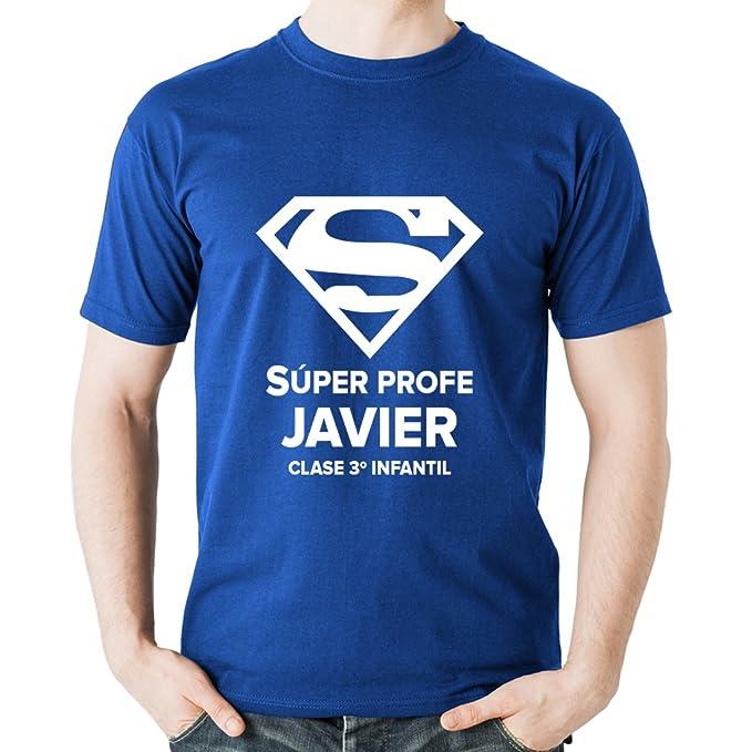Calledelregalo Regalo Personalizable para Profesores: Camiseta Súper Profe Personalizada con su Nombre y el Texto Que Tú… aVzAr8HKe