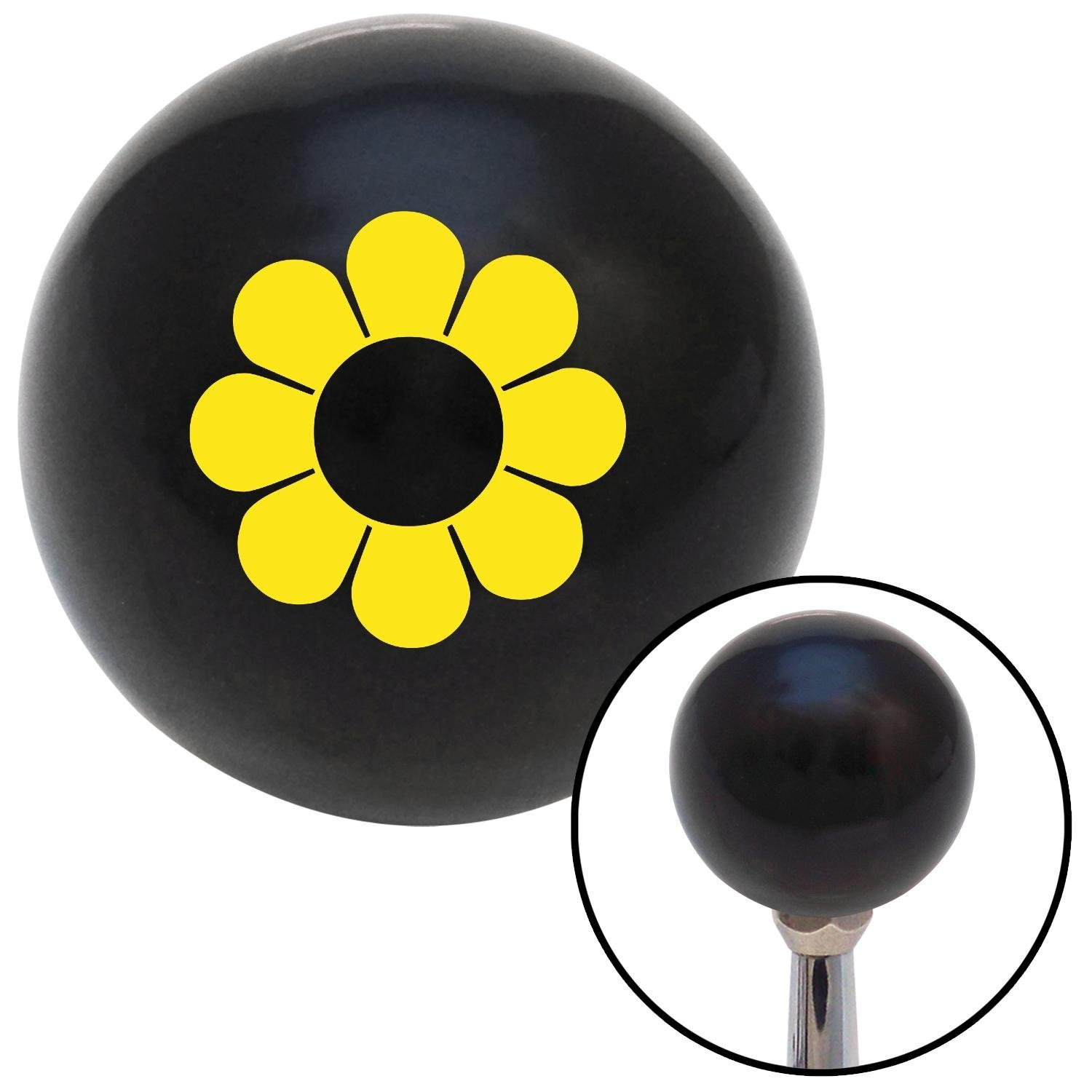Yellow Flower Power American Shifter 107464 Black Shift Knob with M16 x 1.5 Insert