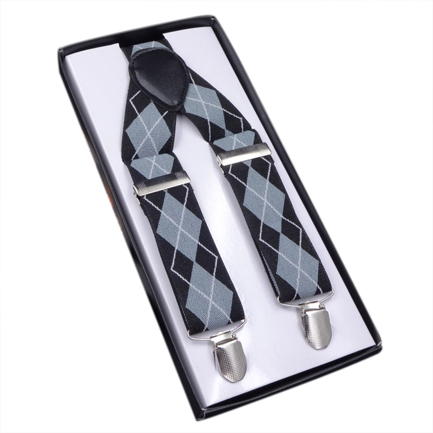 Panegy Unisex Damen Herren Hosenträger 3 Stabile Clips 3.5cm Breite Y-Form Stil Retro Knopf Männer Hosenträger mit Leder Elastisch Längenverstallbar (Farbe Wählbar)