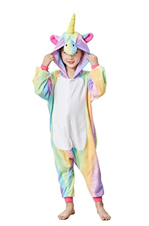 29bcd89a2e Amazon.com  Comfy New Kids Unisex Animal Onesies Unicorn Pajamas Cosplay  Outfit Halloween Costume One-Piece Birthday Gifts  Clothing