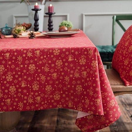 YATEN Lavable, Mantel Dorado de Navidad, Campanilla de Viento, algodón Estampado, Mantel, Rojo Rectangular, sin Encaje, 140 * 260 cm: Amazon.es: Hogar